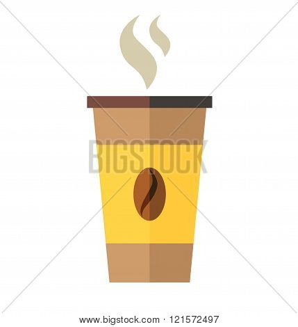 Coffee cup with coffee bean vector illustration. Disposable coffee cup icon.