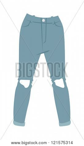Cartoon jeans trousers details silhouettes of denim menswear. Blue jeans on white. Jeans casual isolated fashion. Flat jeans clothing style. Cartoon jeans clothing design.