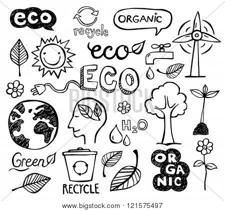 Eco and organic doodles - icons. Ecology, sustainable development, nature protection.