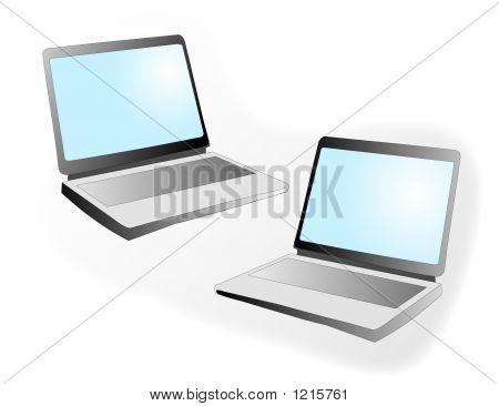 Two Blank Laptops
