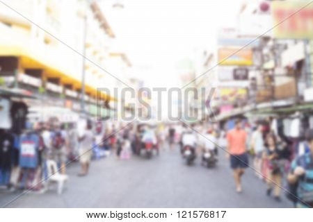 Abstract Blur Tourist Shopping In Khaosan Road Bangkok Thailand