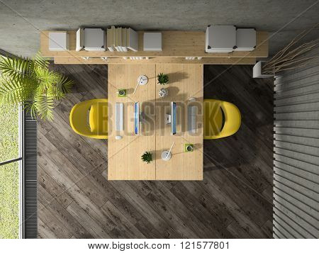 Interior of the office with two table top view 3D rendering