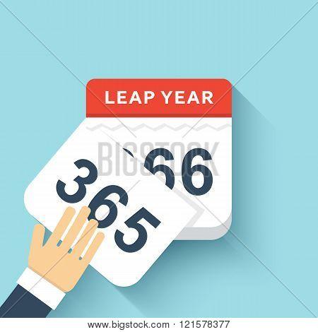 Calendar style flat leap year 366 days. Calendars Design 2016