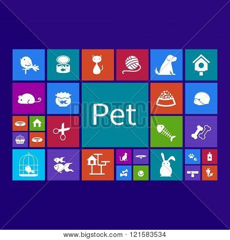 Trendy Computer Or Mobile Application App Program Of Flat Pet Animal And Accessories Object Icon Men