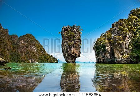 Khao Phing Kan or Ko Tapu Island in Thailand near Phuket, popular tourist destination known as James Bond Island.