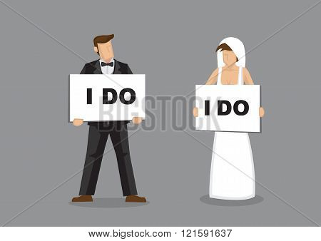 I Do Bride And Groom Vector Illustration