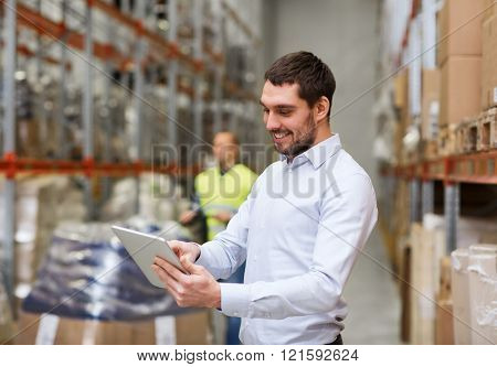 wholesale, logistic, people and export concept - happy businessman or supervisor with clipboards at warehouse poster