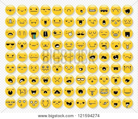 Great set 99 yellow emotions insulated with transparent shadow. Emoji