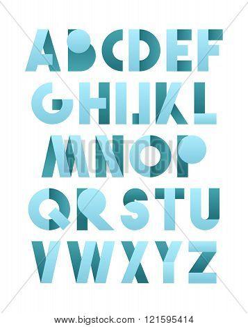 Retro font in blue. Blue alphabet. Realistic letters