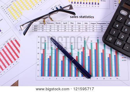 Pen, Glasses And Calculator On Financial Graph, Business Concept