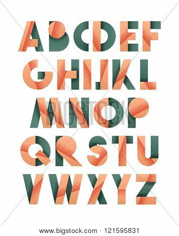 Retro font in grey and red. Pink alphabet. Realistic letters