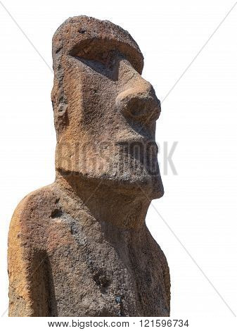 Sculpture of a Moai carved in volcanic stone from Easter Island Chile on white background