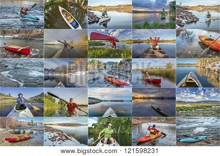kayak and canoe picture collection - paddling on lakes and rivers in Colorado featuring the same male paddler