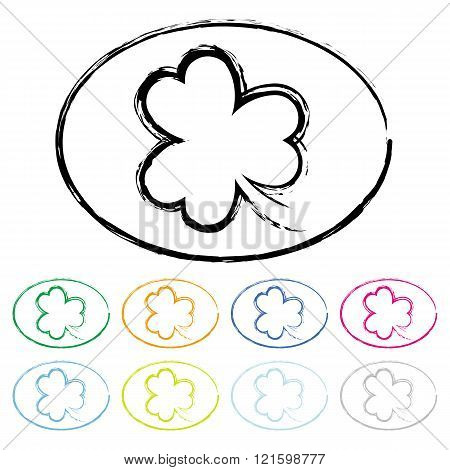 Set of Colorful Clover Grunge Stamp Style, St Patricks Day, Set 2