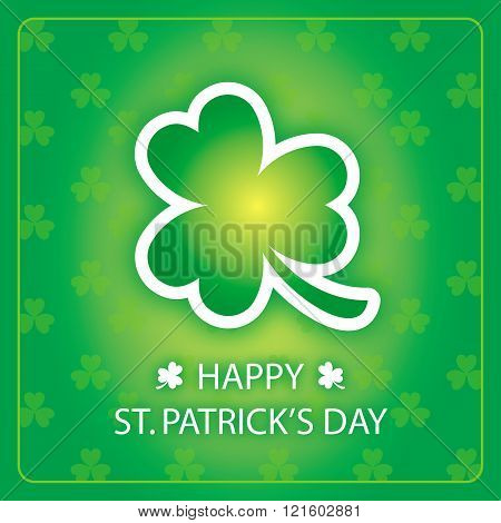 Happy St Patricks Day greeting card with shamrock green background 3