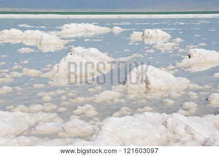 salt deposits, typical landscape of the Dead Sea, Israel poster