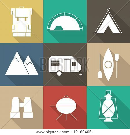 Camping Outine Icon Set Of Adventure Elements