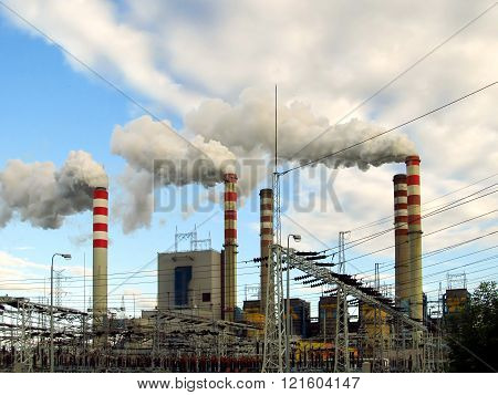 view chimneys buildings and infrastructure lignite-fired power plants high smoking chimneys