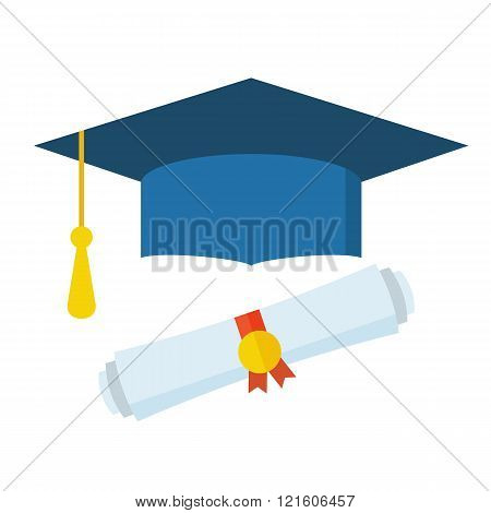 Graduation Student Hat And Diploma