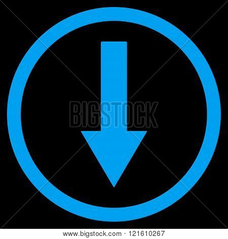 Down Rownded Arrow Flat Vector Symbol