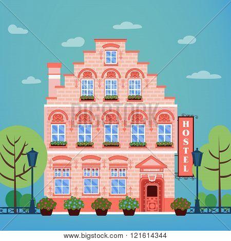 Vintage European City Hostel. Travel Industry Hotel Building Facade
