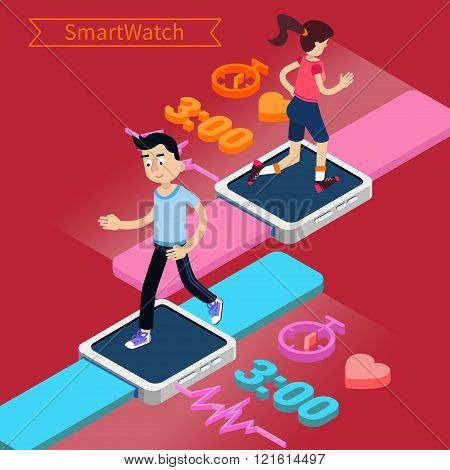 Smart Watch Technology Concept With Running Man And Woman