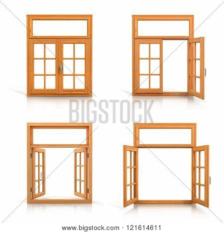 Wooden windows set isolated on white background