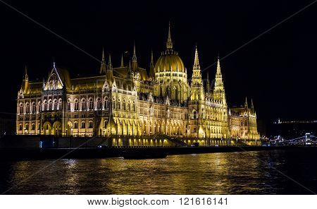 Hungarian Parliament In Budapest City.