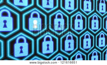 Hexagon Locks Security Concept