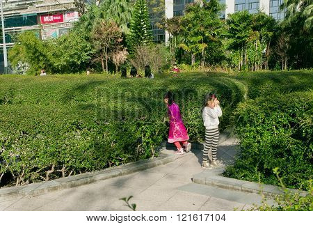 Children Play Hide And Seek In A Green Park Of The City