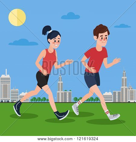 Man And Woman Running In The Megapolis