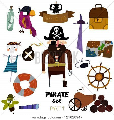 Vector Set Of Pirate Items:  Pirate,map, Chest, Parrot, Skeleton, Starand Sword.colorful Cartoon Col