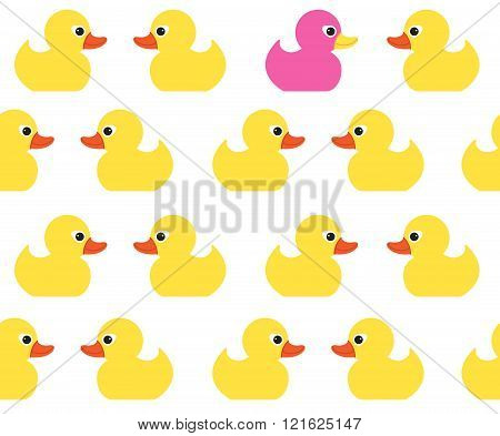 Seamless vector pattern with cute bright yellow ducks