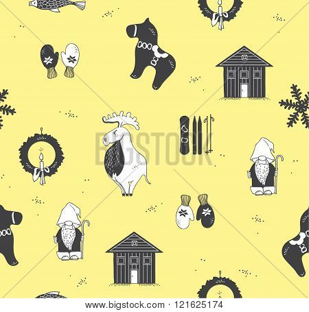 Seamless pattern with attributes of the Scandinavian countries.Set with design elements of symbols of Sweden Denmark Iceland Norway: moose gnome snowflake skiing snowboard viking helmet wooden house mittens red wooden horse salmon candle troll Christmas w
