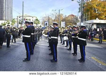 philharmonic band of the municipality of Piraeus Greece, celebrating the Epiphany