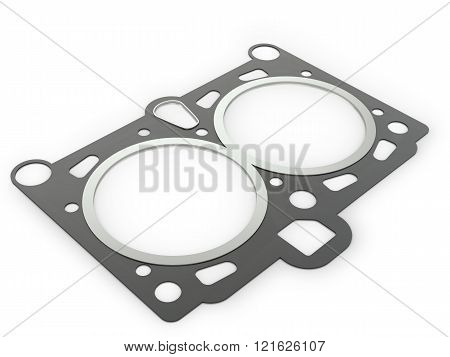 Gasket car engine cylinder head on a white background.