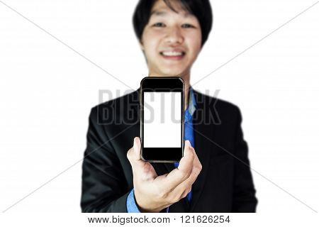 Young businessman showing smart phone with smile face, isolated on white background
