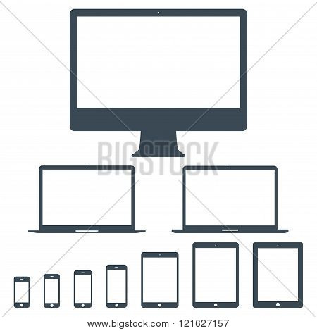 Mockup Gadget And Device Icons Set Gray Color On The White Background. Stock Vector Illustration