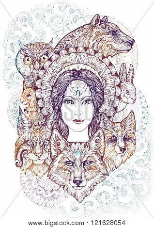 Woman, Bear, Wolf, Lynx, Hare, Squirrel And An Owl