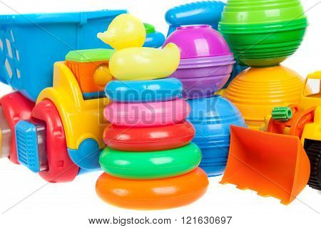 Close Up Of Baby Toys Collection Isolated On White
