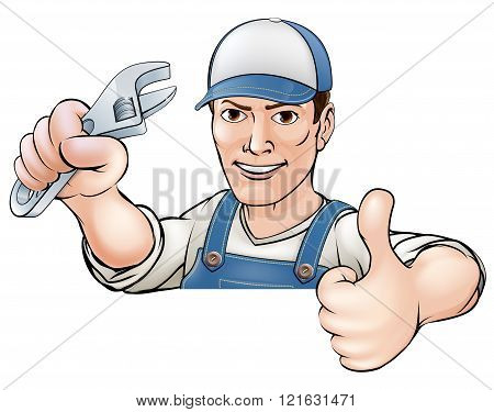 A cartoon mechanic or plumber giving a thumbs up poster