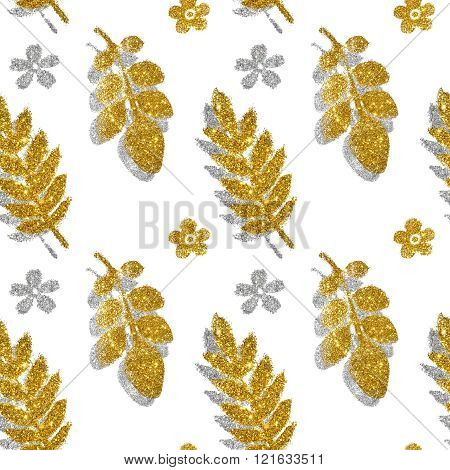 Leaves and flowers of golden and silver glitter on white background, seamless pattern