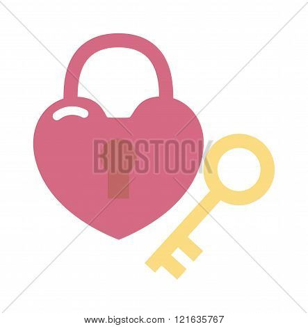 Heart lock and key flat design vector illustration. Heart key romantic symbol. Heart key love concept. Heart key valentine design. Heart key cartoon flat illustration. Heart key vector.