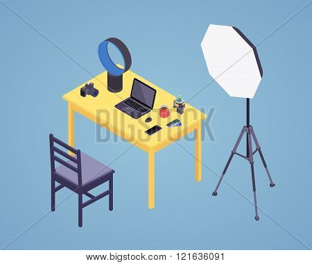 Isometric photographer workplace