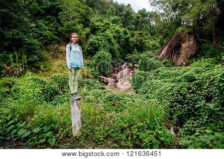 Backpacker Woman In Tropics