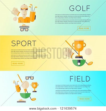 Golf club banners set. Flat design vector illustration.
