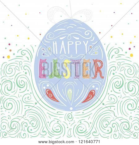 Happy Easter card. Easter background. Easter sunday. Easter egg. Easter hand lettering. Easter Holiday. Easter Vector. Easter greeting card.