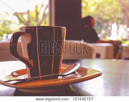 empy coffee cup vintage warm tone