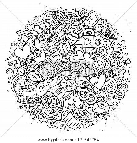 Cartoon vector hand drawn Doodle Love illustration