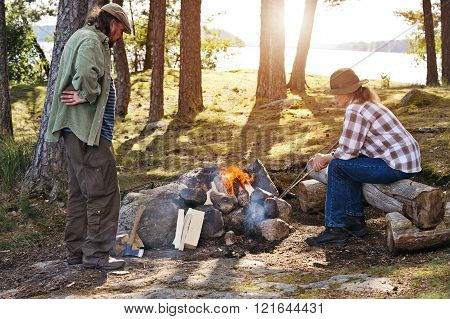 Lighting the camp fire